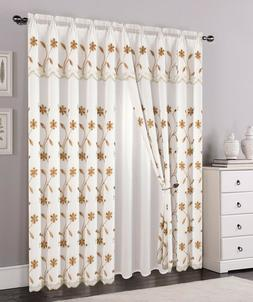 2 Layers Voile Sheer Embroidered Rod Pocket Window Curtain P