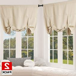 2PC Blackout Innovated Tie Up Shade & Curtain Thermal Insula