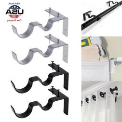 2Pcs Double Hang Curtain Rod Holders Tap Right Window Frame