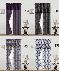5PC SET SOLID ROD POCKET WINDOW CURTAIN WITH VALANCE AND TIE