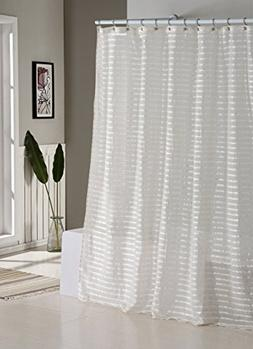 Fabric Shower Curtain: Natural Linen Blend, White and Ivory