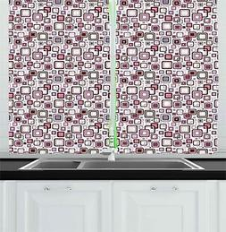 Abstract Geometry Kitchen Curtains 2 Panel Set Window Drapes