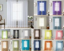 Addison Sheer Voile Window Curtain Solid Panels Rod Pocket -