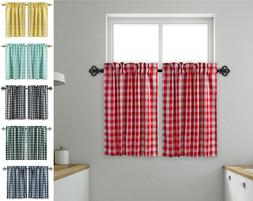 Aiking Home 2 pcs Picnic Checkered Kitchen Curtain Tiers wit