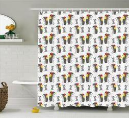 Apple Fruit Pattern Shower Curtain Fabric Decor Set with Hoo