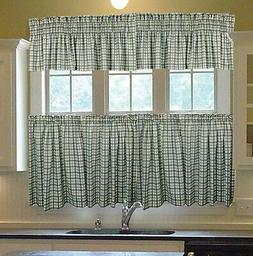 Bristol Two-Tone Plaid Tailored Tier Curtains in Blue - Size