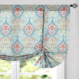 jinchan Burlap Tie Up Curtains Damask Printed Paisly Rod Poc
