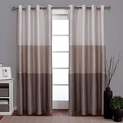 Exclusive Home Chateau Striped Faux Silk Grommet Top Curtain
