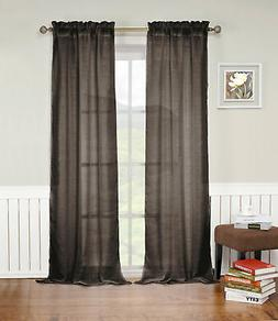 Chocolate Brown Rod Pocket Window Curtain Panel: Textured Se