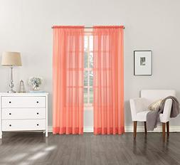 New Coral Orange No 918 Emily Sheer Voile Rod Pocket Curtain