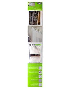 Water Ridge Curved Shower Rod and Fabric Curtain Set