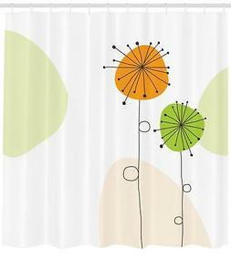 Dandelion Pattern Shower Curtain Fabric Decor Set with Hooks