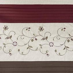 """Madison Park Embroidered Serene Shower Curtain, Red, 108""""x72"""