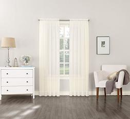 """No. 918 Emily Sheer Voile Curtain Panel, 59"""" x 63"""", Eggshell"""