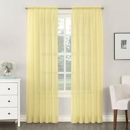 """Emily Sheer Voile Rod Pocket Curtain Panel - Yellow   59"""" x"""
