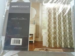 """Madison Park Essentials Shower Curtain Taupe With White  """"72"""