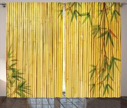 Ambesonne Fabric Curtains Bamboo Panels Divider Windows Drap