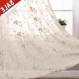jinchan Floral Embroidery Sheer Window Curtains for Bedroom