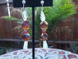 Gorgeous Bronze, Red & White/Clear Tube Beaded Dangling Clip