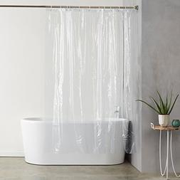AmazonBasics Heavyweight Clear Shower Curtain Liner with Hoo