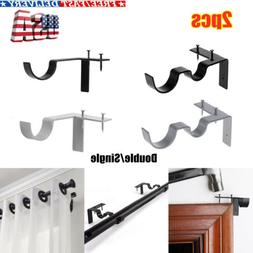 Hang Double Single Center Support Curtain Rod Bracket Into W