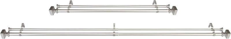 AmazonBasics Double Tension Curtain Rods with Square