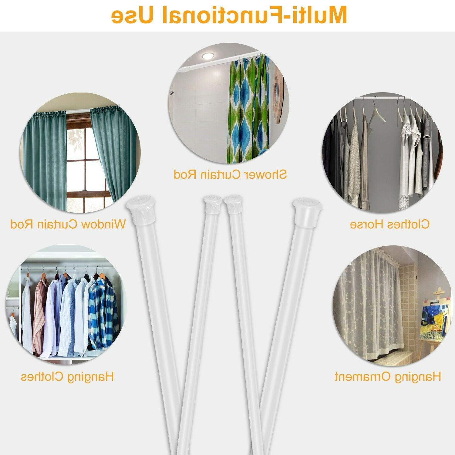 4 Tension Rod Spring Curtain Pole