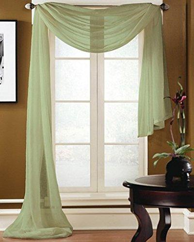 Gorgeous Home 1 PC SOLID SAGE GREEN SCARF VALANCE SOFT SHEER