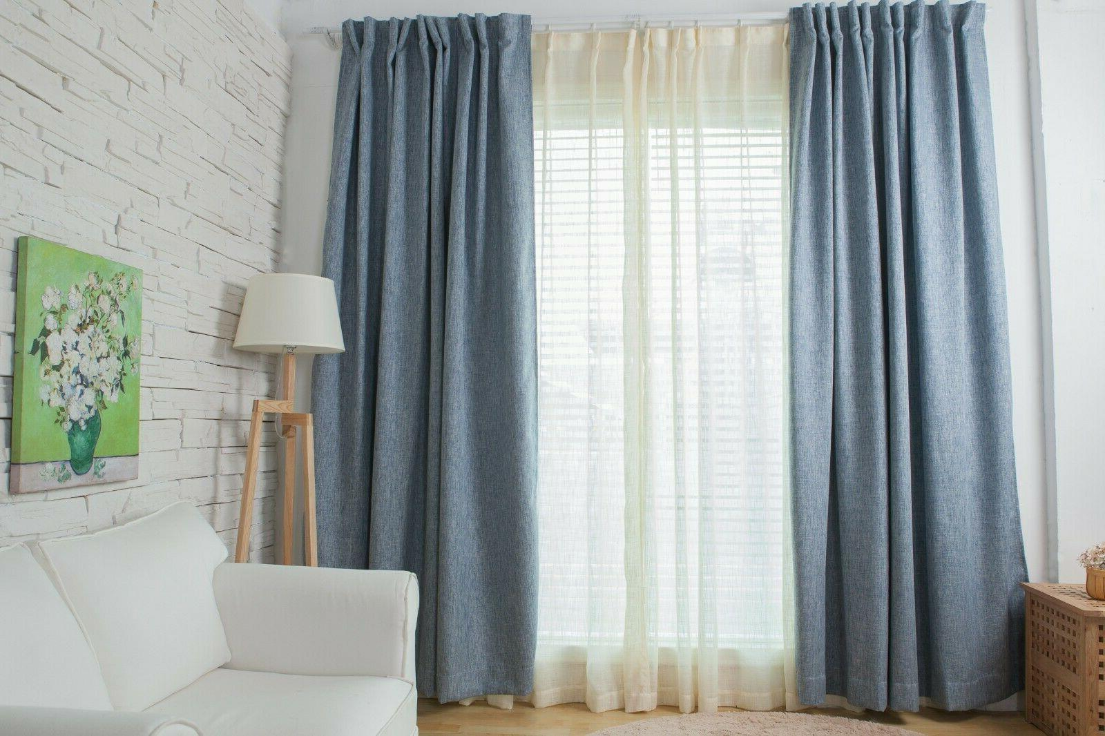 blackout window curtain panel 1pc blue solid