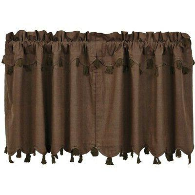 brown rustic and lodge kitchen curtains vhc