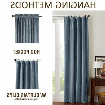 jinchan Blackout Velvet Curtains Bedroom, Thermal Insulated Rod