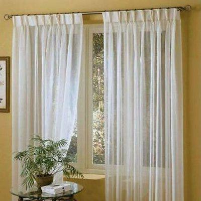 linen white solid sheer curtains double pleated