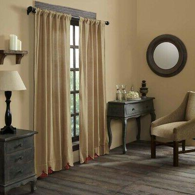 Living Bed Curtains Burlap Pocket VHC Rustic
