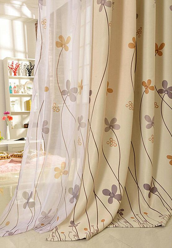 Plant Printed Thermal Sheer Tulle 1 Panel