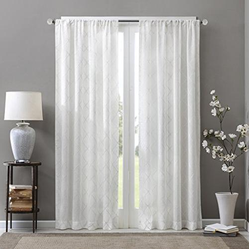 Madison Park Curtains For Bedroom, Transitional White Sheer Curtain Living Room, Irina Rod Pocket 50X95,