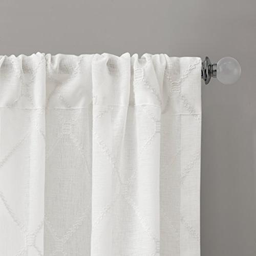 Madison Sheer For White Sheer Living Embroidered Rod Pocket Curtain 50X95, 1-Panel Pack