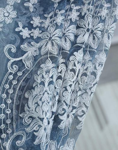 Aside Bside Sheer Curtain Luxurious Pattern Embroidered Rod