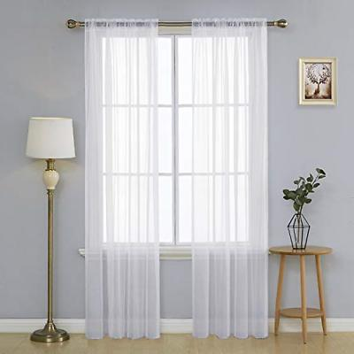 white sheer curtains 90 inch length rod