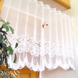 Lace Sheer Window Cafe Curtain Rod Pocket Floral Room Kitche