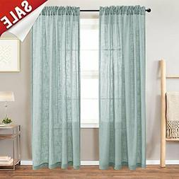 jinchan Linen Textured Sheer Curtains Rod Pocket Drapes for