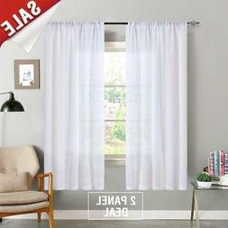 jinchan Linen Textured Sheer Window Curtains for Bedroom She