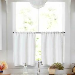 Linen Tier Curtains Rod Pocket Kitchen Living Room Flax Rust
