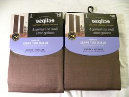 Lot fo 2 Eclipse Black Out Curtain Panels- BROWN - Rod Pocke