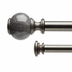 """Marble Ball Double 1"""" Curtain Drapery Rod - Two Sizes"""