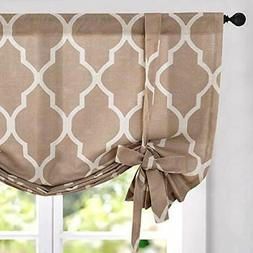 jinchan Moroccan Printed Paisly Tie Up Shade Curtains Rod