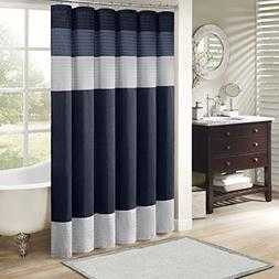 "Madison Park MP70-2206 Amherst Shower Curtain 72x72"" Navy,72"