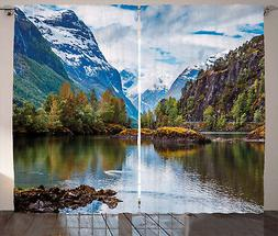Nature Curtains Snowy Norway Mountains Window Drapes 2 Panel