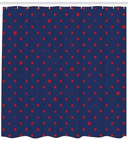 Navy Pattern Shower Curtain Fabric Decor Set with Hooks 4 Si