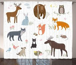 "New!! Ambesonne Children's Room Animal Curtains * 108"" x 63"""