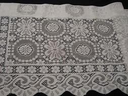 "NIP UNITED ONE LACE CROCHET VALANCE Rochelle Scalloped 56"" x"